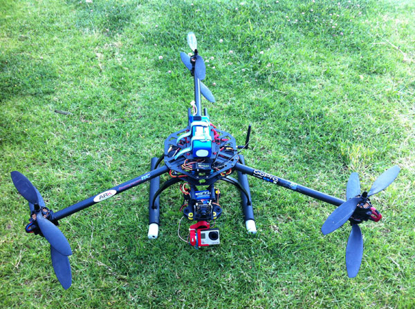 This custom built Y6 Platform is carrying a Go Pro, but can support high-end SLR cameras. Source: S.Prudden