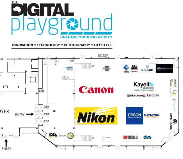The four big exhibitors are Canon, Nikon, Epson and Kayell, with a distinctly professional flavour to the smaller stands. (Floor plan cropped for readability)