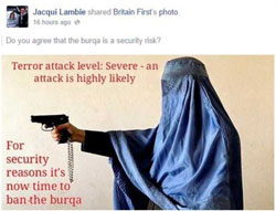 The manipulated image depicts Malalai as a potential terrorist.