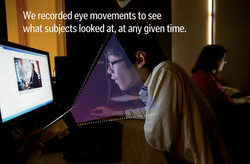 Eye tracking was done with an invisible, infared camera was used to record eye movements to see what a person was looking at in a photo during the research. Photo: Alex Garcia