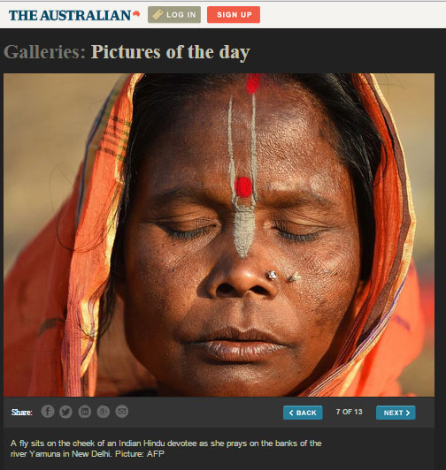 The Australian has an online gallery called 'Pictures of the day', which showcases powerful photography taken by the AFP.