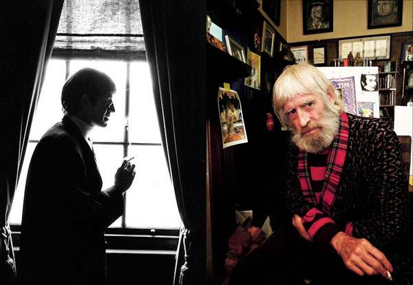 Left: Martin Sharp at home in Wirian, Sydney, 1978. Right: Martin Sharp at home in Wirian, Sydney, not long before he passed away. Source: Supplied