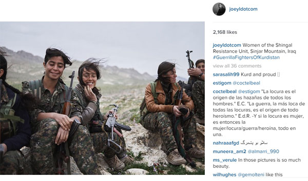 Is this photo supportive of a terrorist organisation? Source: Instagram