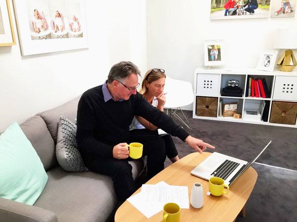 Bernie makes photographers accountable for their business, he said. Here he is with Fi Mims at her studio in St. Kilda, Melbourne.