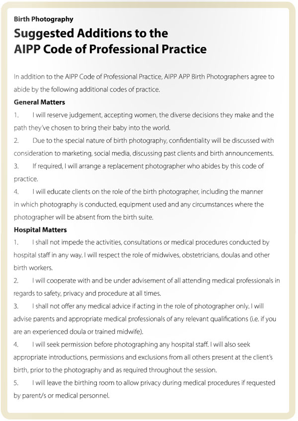 The suggested additions to the AIPP's existing Code of Professional Practice. Source: The Working Pro