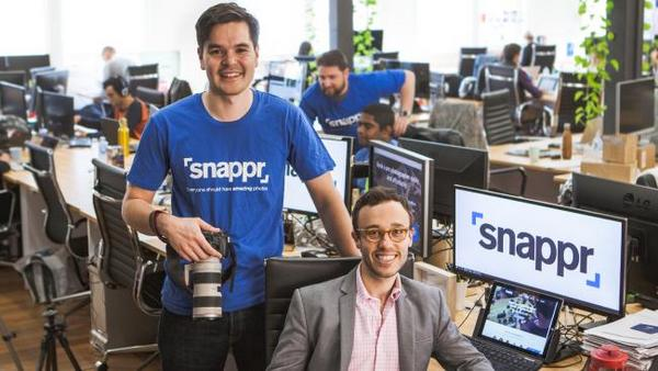 These millenials mean business! Snappr founders Ed Kearney and Matt Schiller at Snappr HQ in Ultimo, Sydney.